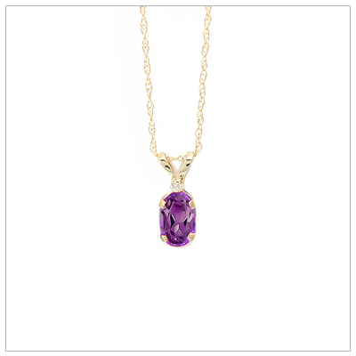 14kt gold February birthstone necklace with genuine amethyst and accent diamond; chain included.