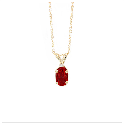 14kt gold January birthstone necklace with genuine garnet and accent diamond.