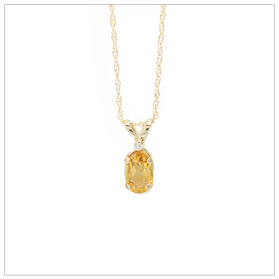 14kt gold November birthstone necklace with genuine citrine and accent diamond; chain included.