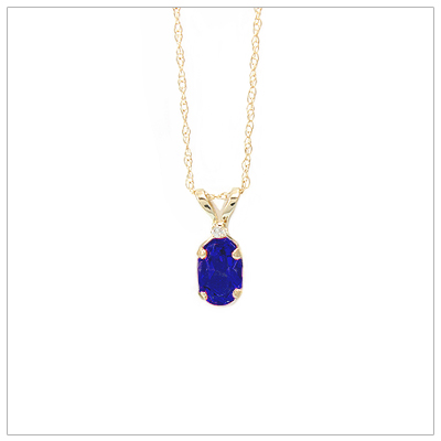14kt gold September birthstone necklace with genuine sapphire and accent diamond.