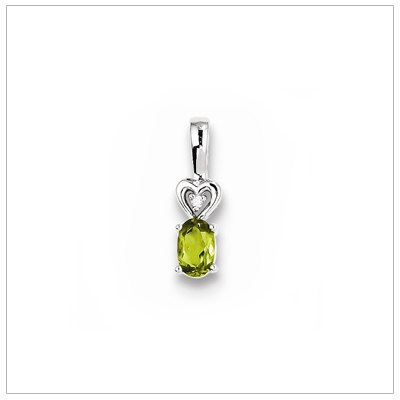 Sterling silver August birthstone necklace with genuine peridot and diamond accent; chain included.