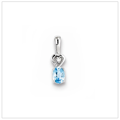 Sterling silver December birthstone necklace with genuine blue topaz and diamond accent; chain included.