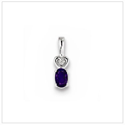 Sterling silver February birthstone necklace with genuine oval amethyst and diamond accent; chain included.