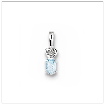 Sterling silver March birthstone necklace with genuine aquamarine and diamond accent; chain included.