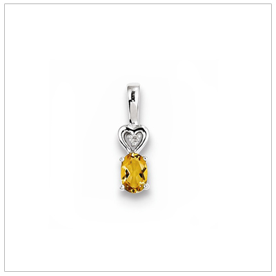 Sterling silver November birthstone necklace with genuine citrine and diamond accent; chain included.