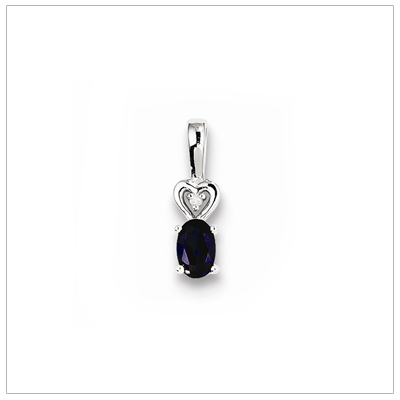 Sterling silver September birthstone necklace with oval sapphire and diamond accent; chain included.