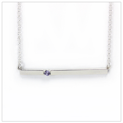 Chic sterling silver bar February birthstone necklace; sleek styling and genuine faceted amethyst.
