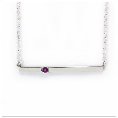 Chic sterling silver bar June birthstone necklace; sleek styling and genuine faceted rhodolite garnet.