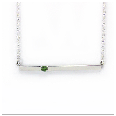 Chic sterling silver bar May birthstone necklace; sleek styling and genuine faceted emerald.