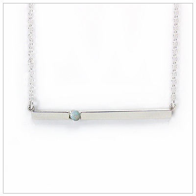 Chic sterling silver bar October birthstone necklace; sleek styling and genuine white opal.