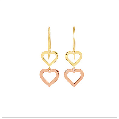 14kt Gold Dangle Heart Earrings - 1672
