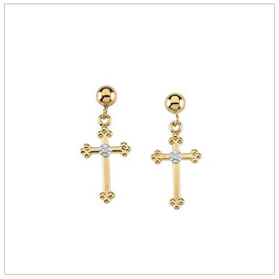 14kt gold Cross earrings for children and teens set with genuine diamonds.
