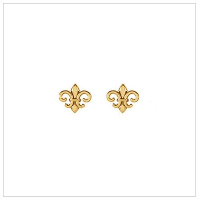 14kt Gold Fleur de Lis Earrings - 1671
