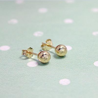 14kt Diamond-Cut Ball Earrings - 1668