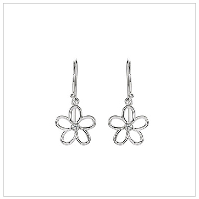 Diamond Flower Dangle Earrings