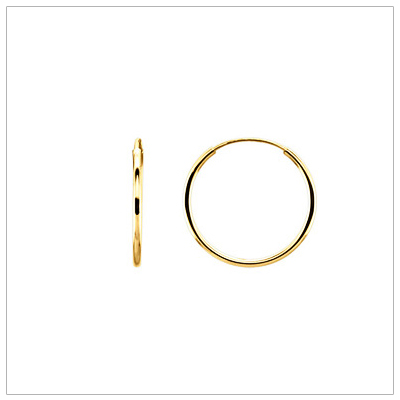 14kt Gold Endless Hoop Earrings, 15mm