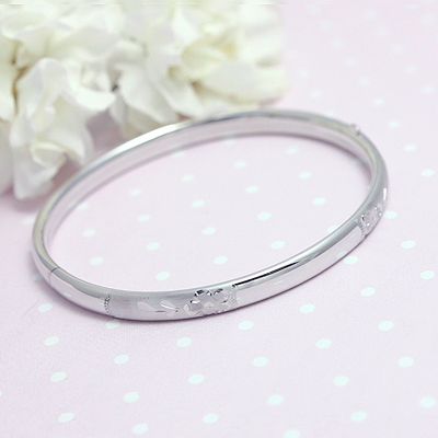 Adult Floral Engraved Sterling Bangle silver bangle bracelet