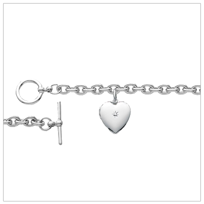 Diamond Heart charm bracelet