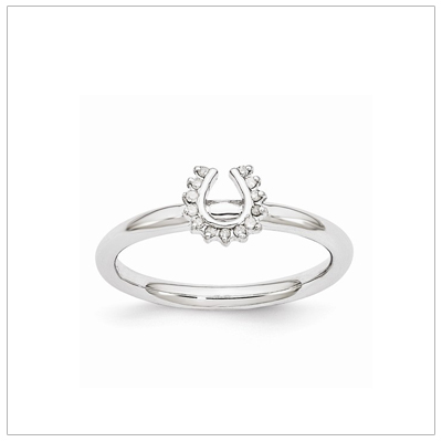 Sterling silver diamond horseshoe ring for teens.