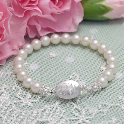 Monogram and Pearls Bracelet personalized bracelet, engraved jewelry