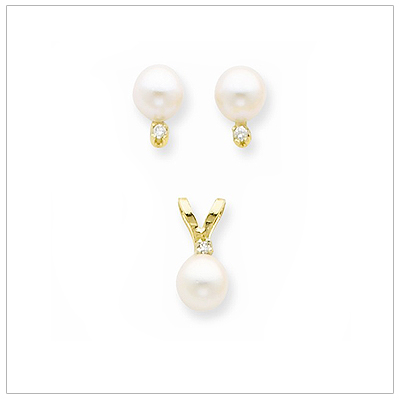 14kt Gold Diamond and Pearl Jewelry
