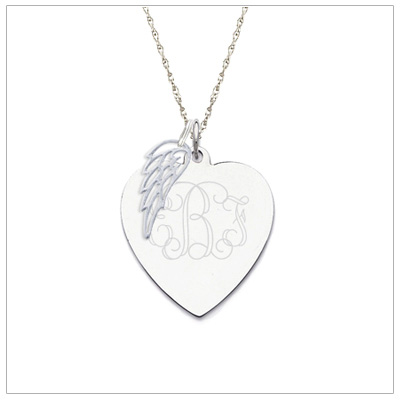 Sterling silver heart shaped necklace with personalized engraving.