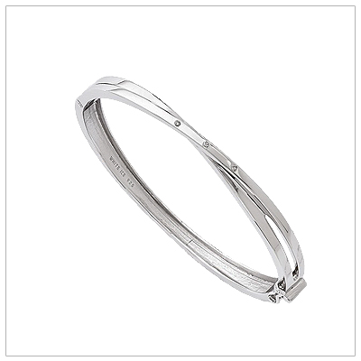 Sterling Diamond Crossover Bangle diamond bangle bracelet
