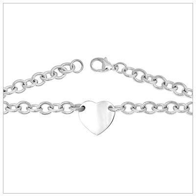 Silver heavy link charm bracelet with engravable heart medallion.