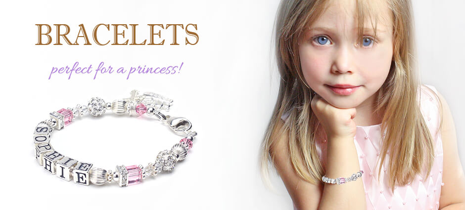 Finely crafted baby and children's bracelets in cultured pearls, sterling silver, and 14kt gold. Personalized baby bracelets that are perfect for a princess.