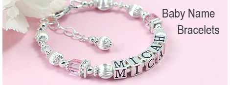 Children's name bracelet with pink crystal, sterling silver, and sparkling cz.