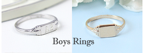Boys signet rings in sterling silver and 10kt gold.