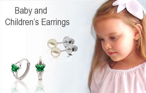 Children's screw back earrings and huggie birthstone earrings.