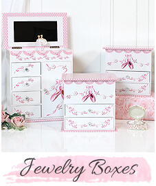 Pink and white musical ballerina jewelry boxes for girls.