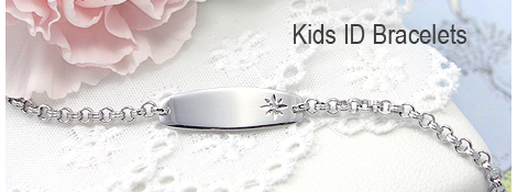 Girls id bracelet with a genuine diamond.
