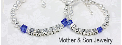 Mother and son matching bracelets in sterling silver.