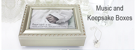 Musical keepsake boxes for Christening or Baptism gifts. Store precious mementos in our fully lined keepsake box with hinged lid.