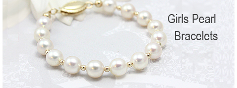 White cultured pearl bracelet for girls with 14kt gold polished beads. A classic gold and pearl bracelet that can grow with your child.