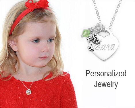 Children's pearsonalized engraved heart necklace in sterling silver.