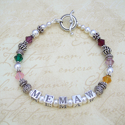 Grandmother bracelet in sterling silver with birthstones for each grandchild and your personalized name.