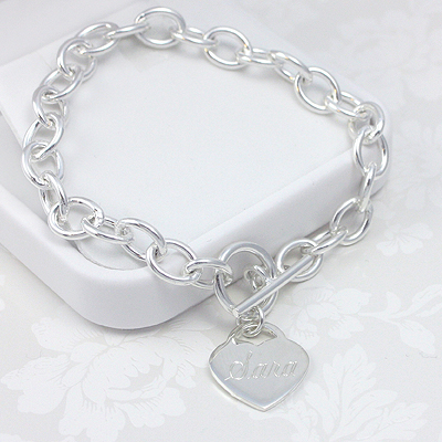 Sterling Heart Charm Bracelets with custom engraved heart charm.