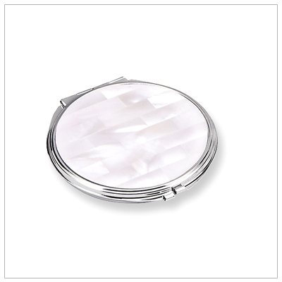 White Mother of Pearl Compact Mirror