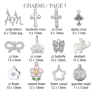 Sterling silver charms to add to baby and children's ID bracelets; page 1.