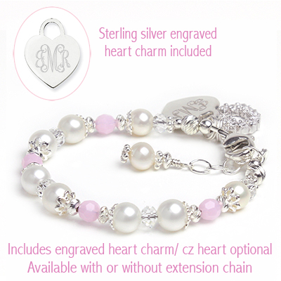 Fine cultured pearl bracelet for baby and child with sterling engraved heart charm.