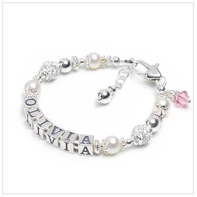 Baby bracelet with cultured pearls and sterling cz beads. Personalized name bracelet for baby and child.