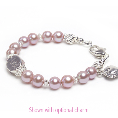 Mauve pearl baby bracelet with custom engraved sterling bead.