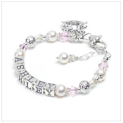 Baby and childrens personalized bracelet with cultured pearls, soft pink crystal, and beautiful sterling filigree beads.