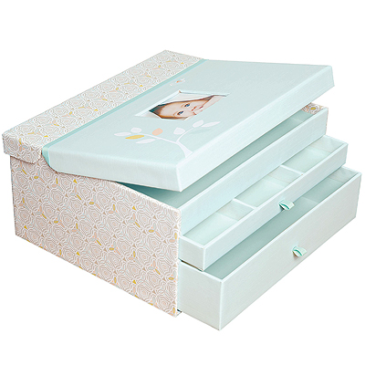 Sleek and elegant linen-look and mint accent baby keepsake chest for storing special mementos neatly. New baby gift.