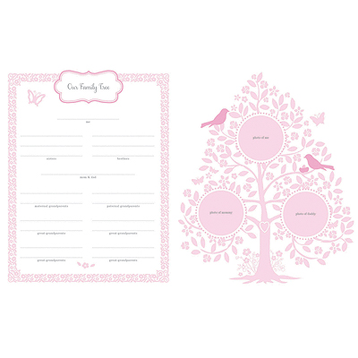 Inside view of pages for Belle Baby Memory book; new baby gift for little girls.