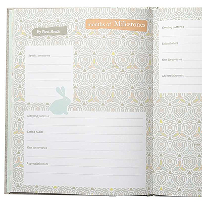 Close up of pages of baby memory book for either boy or girl.