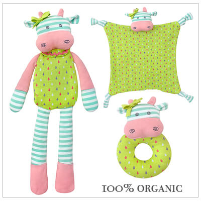 3 piece baby shower gift in our irresistible Belle the Cow design. Includes Belle doll, blankie, and rattle teether. Baby gift comes with free gift wrap and card.